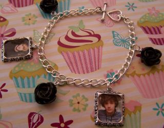Liam Payne One Direction Picture Black Roses Charm Bracelet