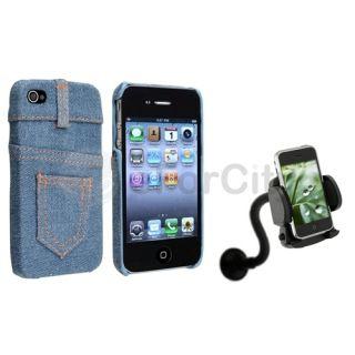 Light Blue Jean Hard Case Skin Cover Car Mount Holder Kit For iPhone 4