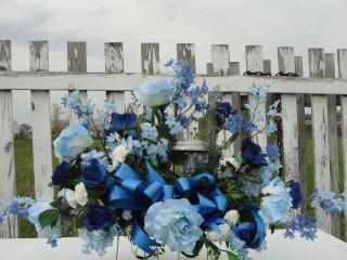 Landscape Solar Light Sympathy Cemetery Silk Flower Saddles Fathers