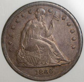 1860 O Seated Liberty Silver Dollar Coin NGC AU 58