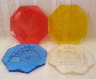 1993 Life Savers Candy 4 Acrylic Christmas Ornaments Lifesavers R Y B