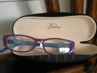 AWESOME JUDITH LEIBER READING GLASSES IN PURPLE + BLUE w SWAROVSKI