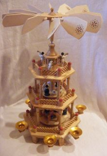Vtg 3 Tier Lillian Vernon 8996 Christmas Wooden Carousel Candle Holder