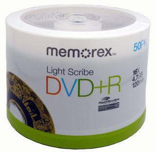 50 Memorex Lightscribe DVD R 16x 4 7GB Gold Color New