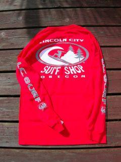Lincoln City Surf Shop Long Sleeve Tee Surfboard Oregon
