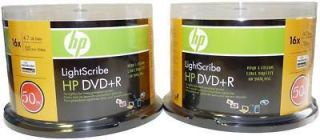 100 HP Lightscribe DVD R 16x 4 7GB Gold Color New