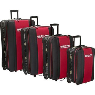Rockland Luggage Polo 4 Piece Luggage Set Black Red