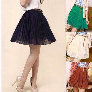 Retro Organ Pleated Chiffon Short Dress Belt Skirt Likely