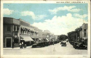 Lincolnton Main Street Scene Vintage Cars Old Postcard