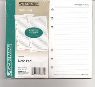 At A Glance Cambridge 6 Ring Lined Note Pad Refill