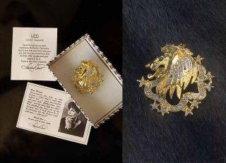 Linda Dano Leo Lion Brooch Pin Rhinestones Gold