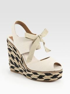 Tory Burch Linley Lace Up Espadrille Wedge Ivory Sz 8 New $195