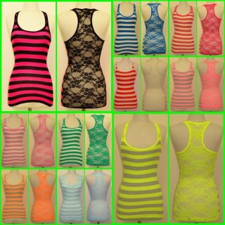 Womens Juniors Sexy Sheer Lace Back Tank Top Basic Casual Racer Back