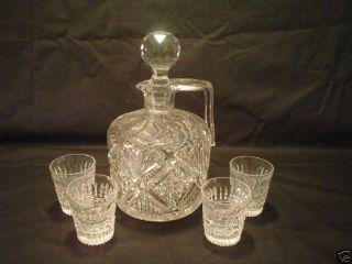 RARE abp Cut Glass Whiskey Jug 4 Liqueurs 5 PC Set