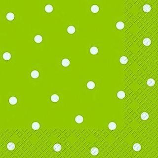 Stewo 3 Ply Paper Napkins Lime Green with White Spot Design Dolly Pack