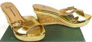 Lisa Donald Pliner Womens Wonnda Platform Sandals Gold 6 M US VMS2