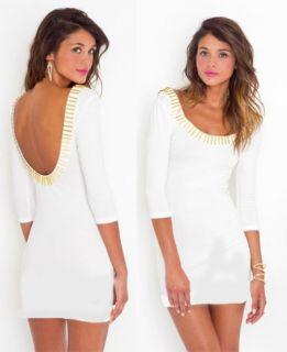 Gold Rush Little Bars White Soft Scoop Neck Mini Bodycon Dress 3 4