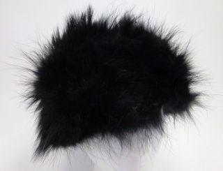 Designer Black Fox Fur Lined Skull Cap Church Dress Ha
