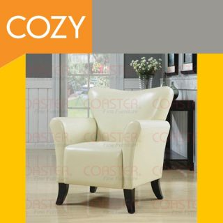 Faux Leather Upholstered Accent Chair Ivory Living Room