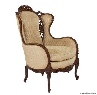 Louis XV Mahogany Living Room Wing Chair Excellent Condition