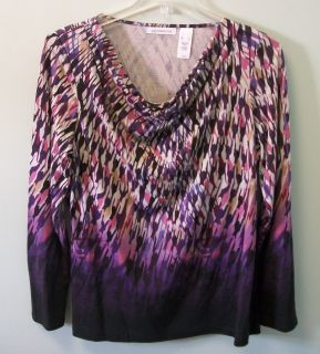 LIZ CLAIBORNE Womens Pink Purple Blue Gold Long Sleeve Shirt XL XLarge