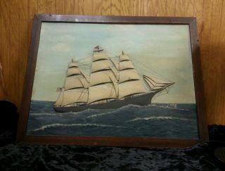 Sailing Wood Carved Painting Lloyd H Thomas Camden Maine RARE