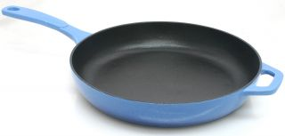 Lodge Cast Iron Skillet Porcelain Enamel on Cast Iron 11 Blue Fry Pan
