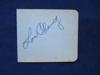 Original Autograph Album Page Signed by Lon Chaney Jr