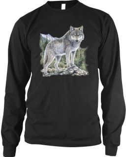 Lone Wolf Long Sleeve Thermal T Shirt Nature Scene Mountains and Trees