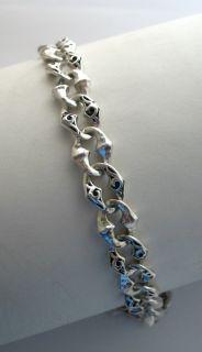 Lois Hill 925 Silver Unisex Oval Cutout Chain Bracelet