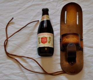 Lone Star Beer Leg and Belt Holster Made of Leather with Logo Embossed