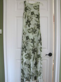 Jonathan Martin Long Green Floral Print Summer Dress Size 7