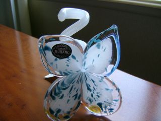 Glass 4 Petal Flower Candle Holder Curled Stem Teal Blue White