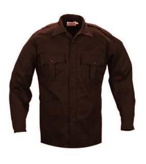 Elbeco TekTwill Duty Uniforms Long Sleeve Shirts Brown