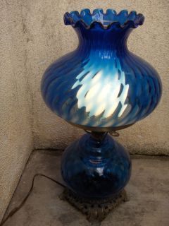 Vintage Working Cobalt Blue Electric 19 Tall Hurricane Lamp with Shade