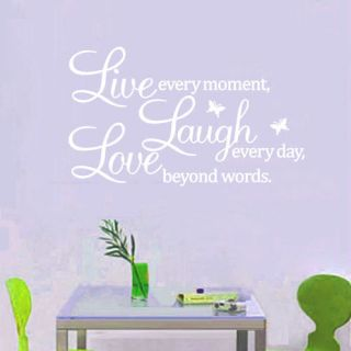 Live Laugh Love White Wall Art Quote Sticker Vinyl Removable