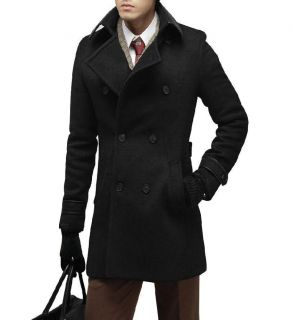 Mens Black Long Sleeve Point Collar Korea Stylish Tweed Overcoat