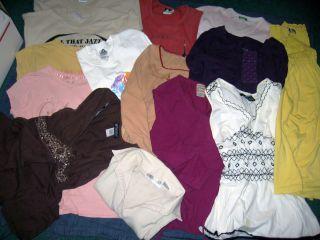 Lot 14 Pcs Women Juniors Sz M L Mix Tops Shirts Tees Tanks Polo Dress