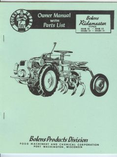 Bolens Ridemaster Garden Tractor Owner Manual Parts List