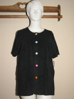 Coco Bay Black Terry Cloth Button Up Swimsuit Cover Up Top Size 1x 2X