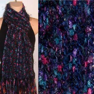 Hand Knit Gypsy Scarf Navy Burgundy Teal Wool Ribbon