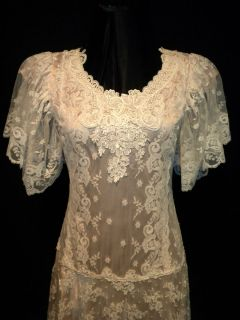 Lorrie Kabala Vintage Ivory Lace Victorian Tea Wedding Dress Gown Sz 8