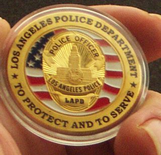 Los Angeles Police Department 24K Gold Plated Memorabilia Coin Medal