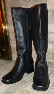EUC Womens Sz 9 1 2 TABITHA by Earth Shoes Black Leather Riding BOOTS