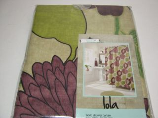 New West St Designs Lolo Shower Curtain Plum Green Floral NIP
