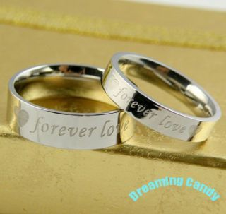 Made in Korea Forever Love Heart Engraved Couple Rings Fine Stainless
