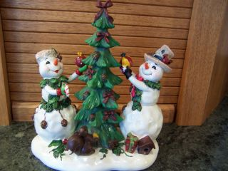 Home Interiors Trimming The Tree Snowman Couple Figurine