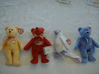 Lot of 4 TY Original Beanie Babys KuKu, Holy Bears Allegiance, Sunny