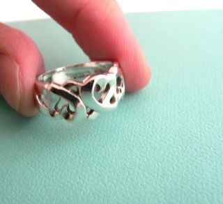 Tiffany Co Silver Picasso Loving Heart Ring Band Sz 6 75