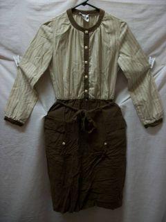 Vtg Brown Long Sleeve Prairie Peasant Cotton Dress Costume Womens Sz 8